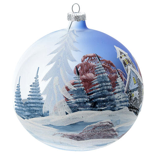 Boule Noël chalet neige ciel rouge verre soufflé 150 mm 3