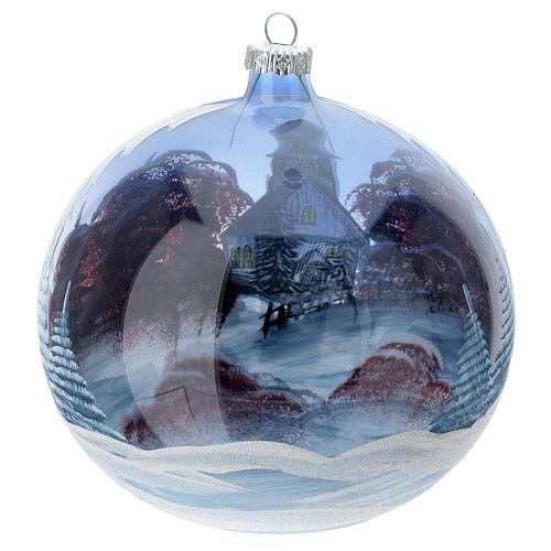Pallina Natale baita neve cielo rosso vetro soffiato 150 mm 5