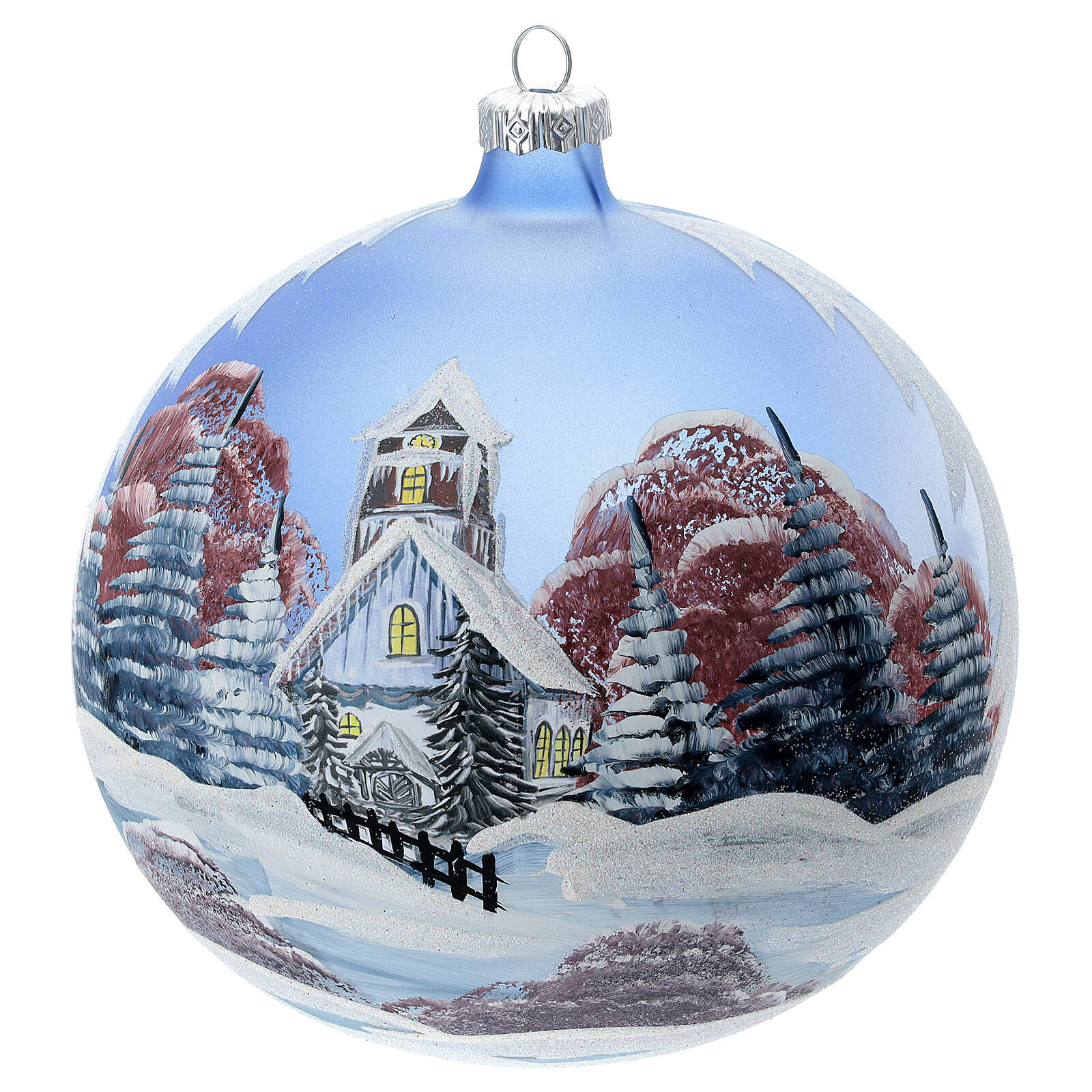 Glass Christmas ball ornament cottage sky red tree 150 mm 4