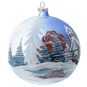 Glass Christmas ball ornament cottage sky red tree 150 mm s3
