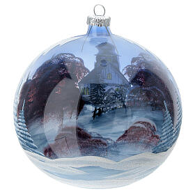 Glass Christmas ball ornament cottage sky red tree 150 mm s4