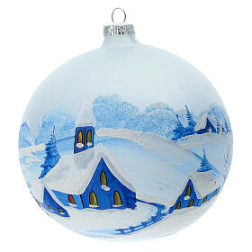Christmas ball with snowy village by night in blown glass 150 mm s1