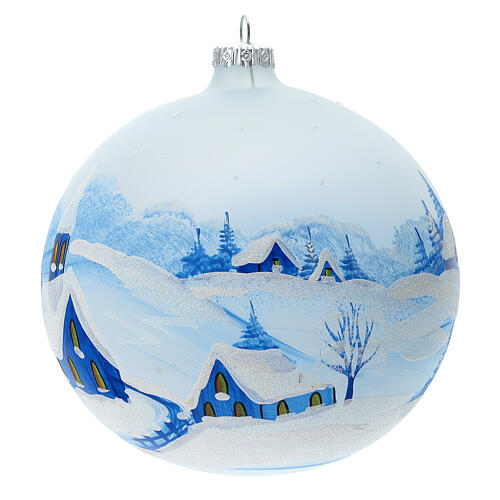 Christmas ball with snowy village by night in blown glass 150 mm 3
