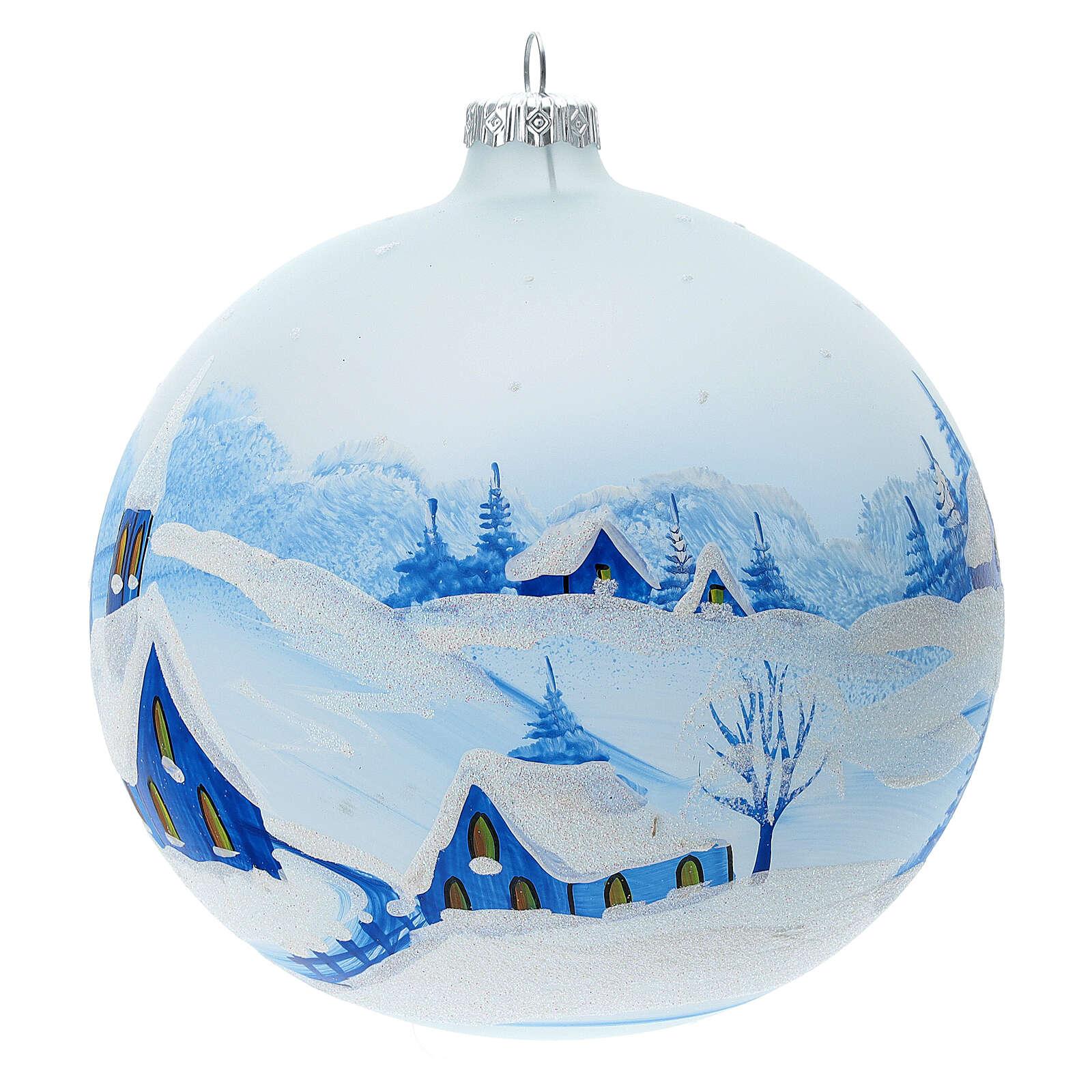 Boule Noël village enneigé nuit verre soufflé 150 mm 4