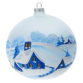 Boule Noël village enneigé nuit verre soufflé 150 mm s1