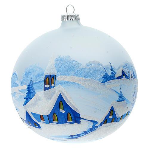 Boule Noël village enneigé nuit verre soufflé 150 mm 1