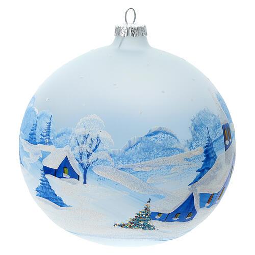 Boule Noël village enneigé nuit verre soufflé 150 mm 3