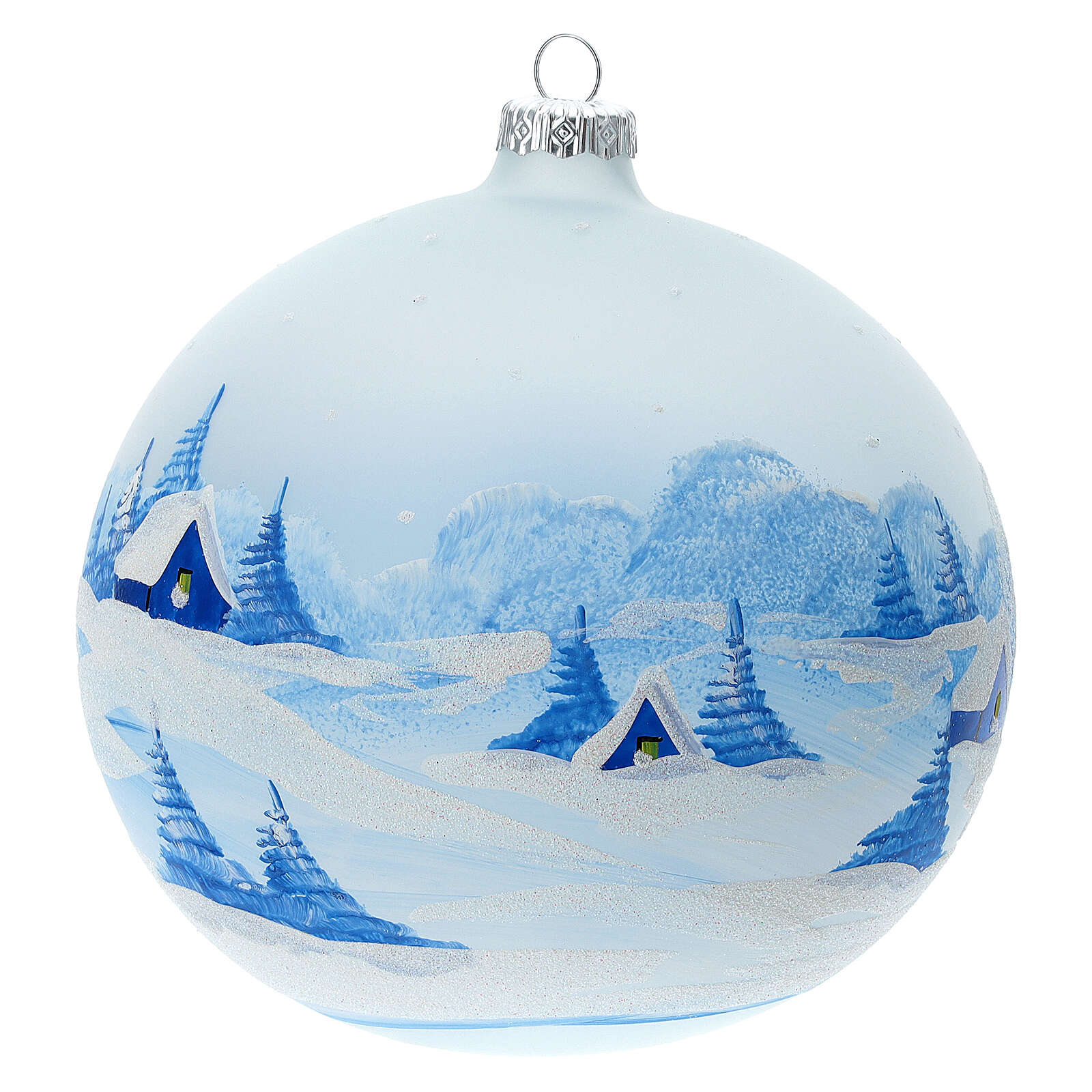 Christmas tree ball ornament snowy village blown glass 150 mm 4