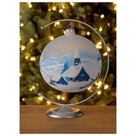 Christmas tree ball ornament snowy village blown glass 150 mm s2