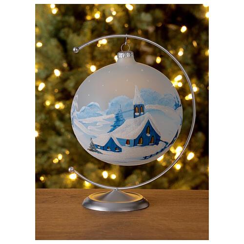 Christmas tree ball ornament snowy village blown glass 150 mm 2