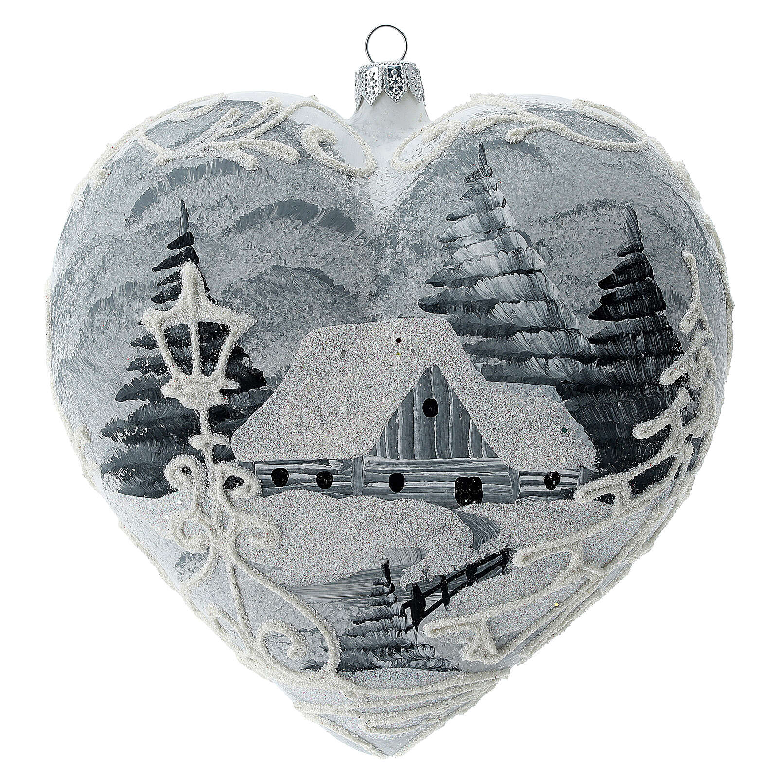 Heart Christmas tree ornament white silver streetlamp blown glass 4