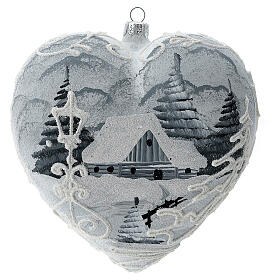 Heart Christmas tree ornament white silver streetlamp blown glass s1