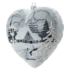 Heart Christmas tree ornament white silver streetlamp blown glass s2