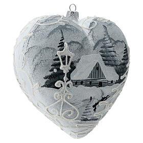 Heart Christmas tree ornament white silver streetlamp blown glass s3