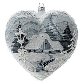 Heart Christmas tree ornament white silver streetlamp blown glass s4