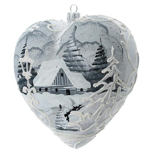 Heart Christmas tree ornament white silver streetlamp blown glass 2