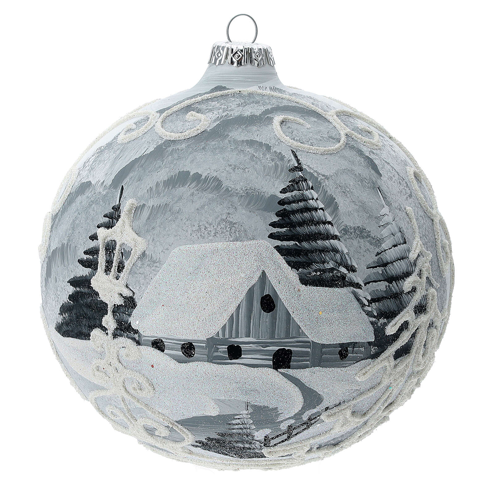 Glass Christmas tree ball ornament white frame silver village 150 mm 4