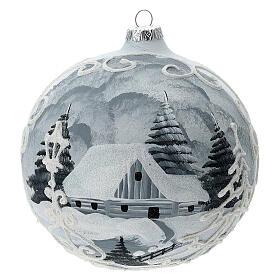 Glass Christmas tree ball ornament white frame silver village 150 mm s1