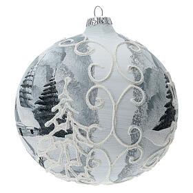 Glass Christmas tree ball ornament white frame silver village 150 mm s2