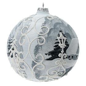Glass Christmas tree ball ornament white frame silver village 150 mm s3