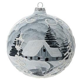 Glass Christmas tree ball ornament white frame silver village 150 mm s4