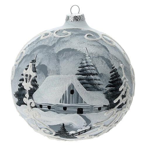 Glass Christmas tree ball ornament white frame silver village 150 mm 1