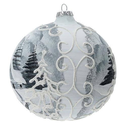Glass Christmas tree ball ornament white frame silver village 150 mm 2
