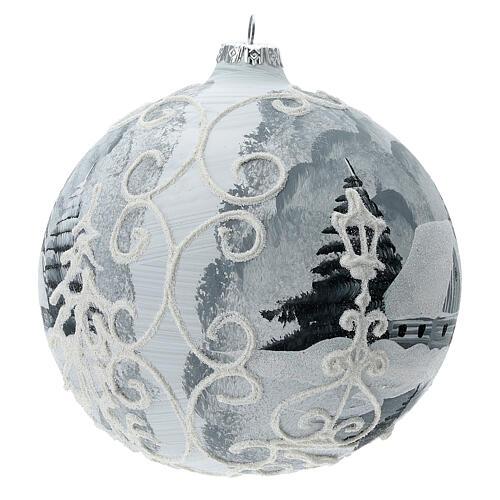 Glass Christmas tree ball ornament white frame silver village 150 mm 3