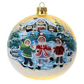 Boule Noël village enfants verre soufflé 150 mm s1