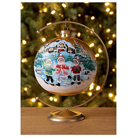 Boule Noël village enfants verre soufflé 150 mm s2