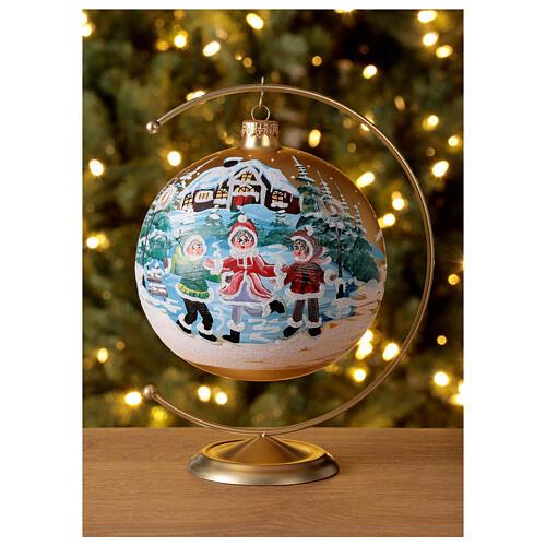 Boule Noël village enfants verre soufflé 150 mm 2