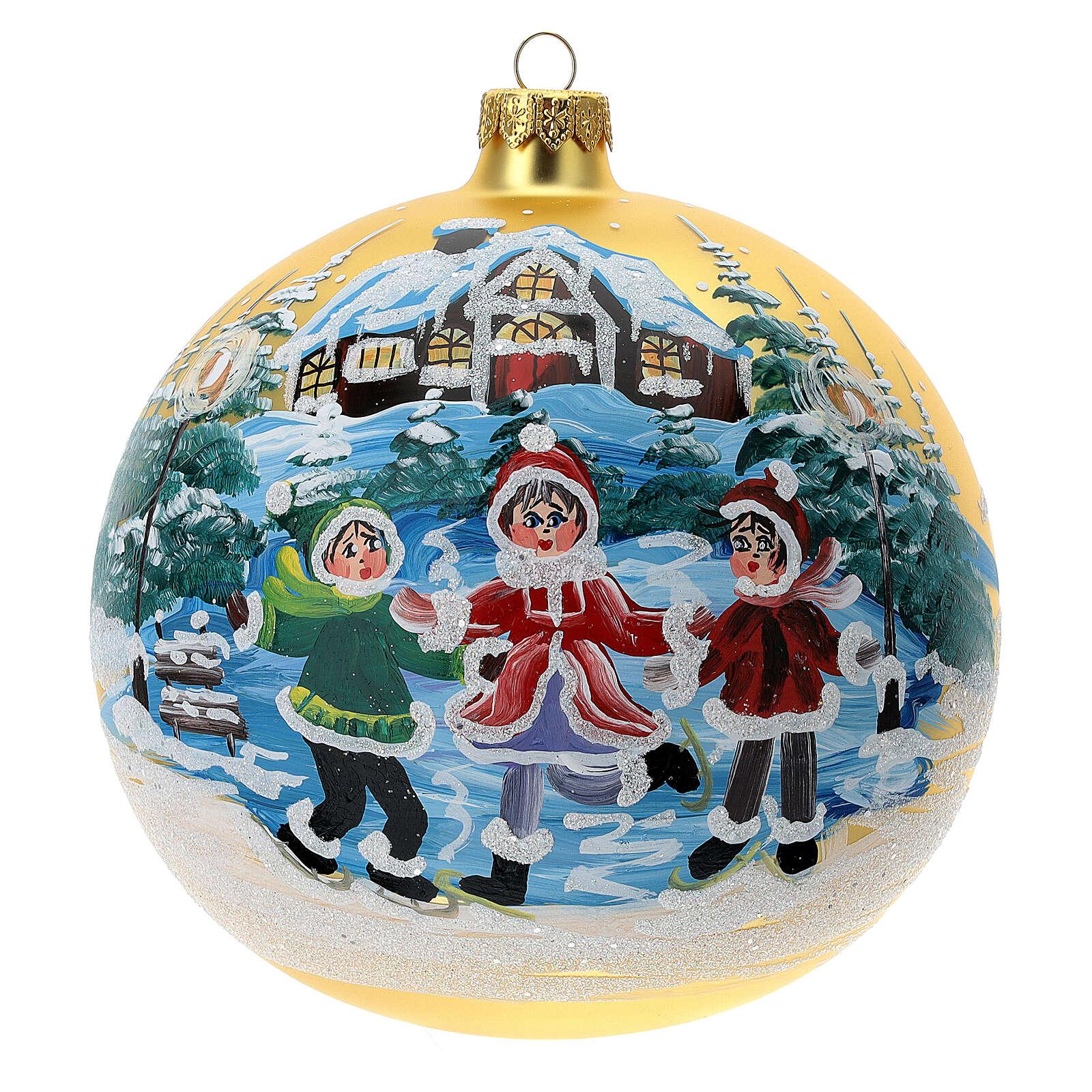 Pallina Natale villaggio bambini vetro soffiato 150 mm 4