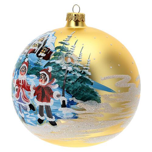 Pallina Natale villaggio bambini vetro soffiato 150 mm 2