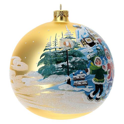 Pallina Natale villaggio bambini vetro soffiato 150 mm 3