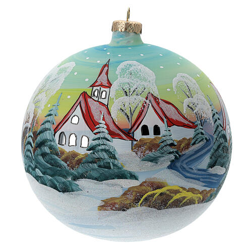 Glass Christmas ball snowy red roof houses 150 mm 1