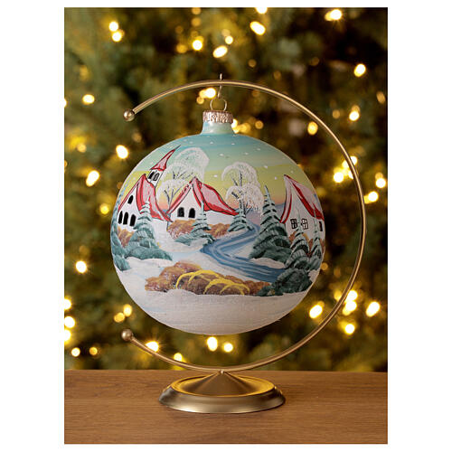 Glass Christmas ball snowy red roof houses 150 mm 2