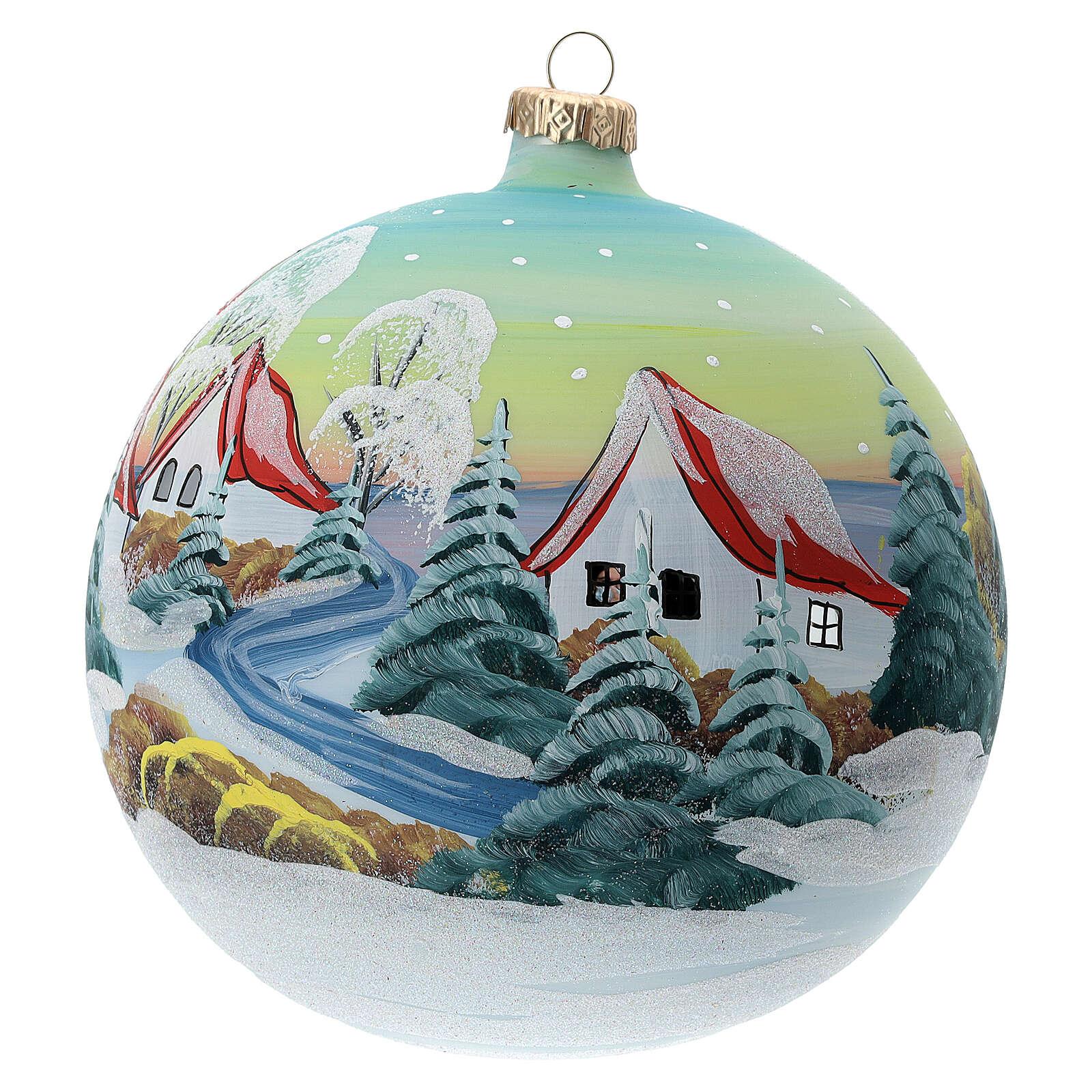 Bola Navidad techos rojos nieve vidrio soplado 150 mm 4