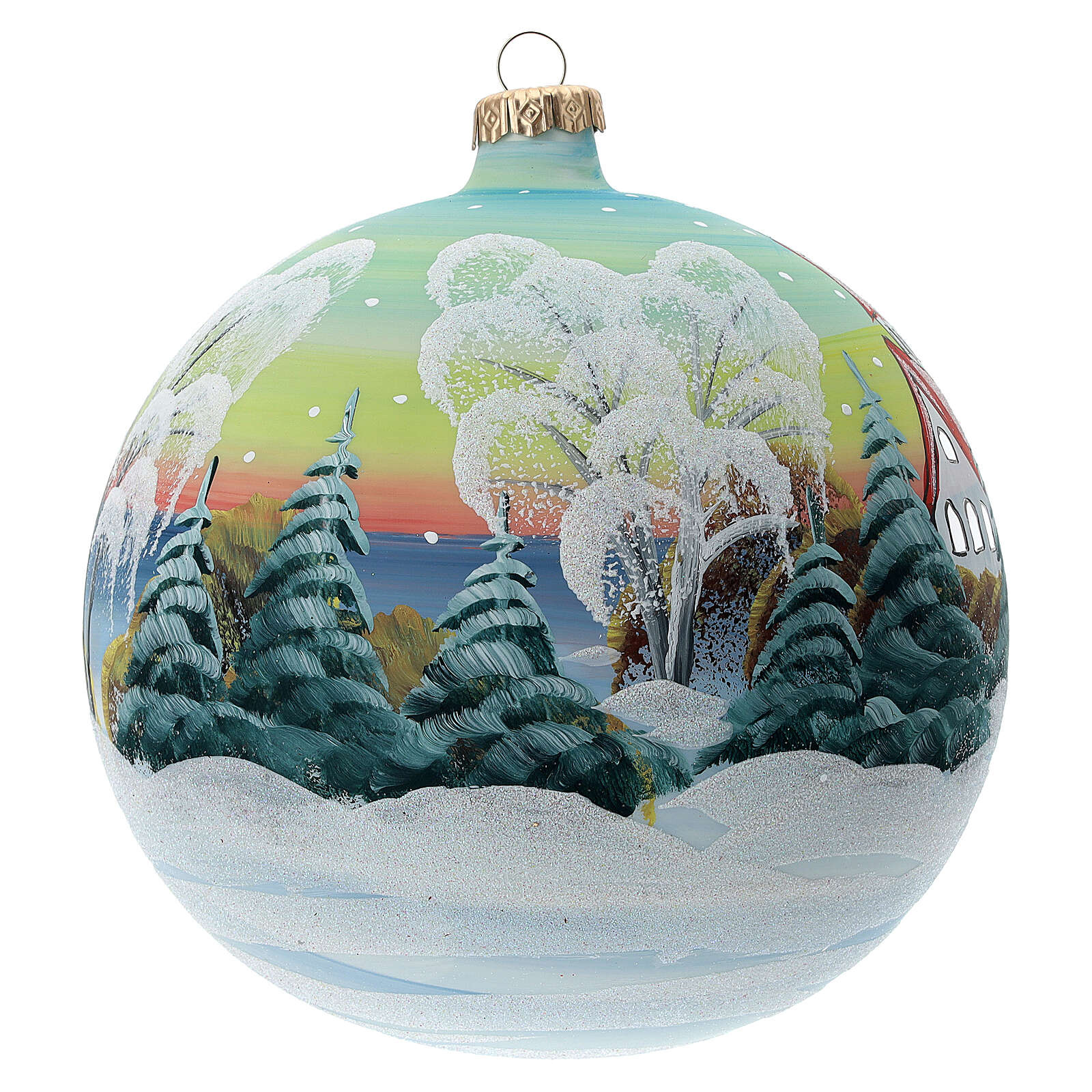 Glass Christmas ball snowy red roof houses 150 mm 4