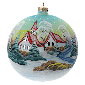 Glass Christmas ball snowy red roof houses 150 mm s1