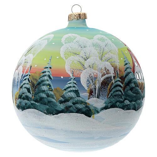 Glass Christmas ball snowy red roof houses 150 mm 3