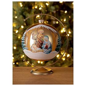 Boule Noël or Nativité Sainte Famille verre soufflé 150 mm s2