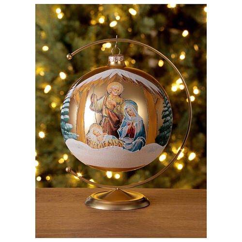 Boule Noël or Nativité Sainte Famille verre soufflé 150 mm 2