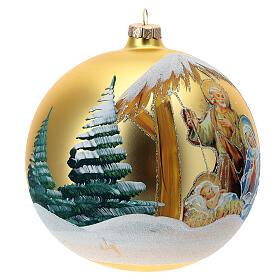 Pallina Natale oro Natività Sacra Famiglia vetro soffiato 150 mm s3