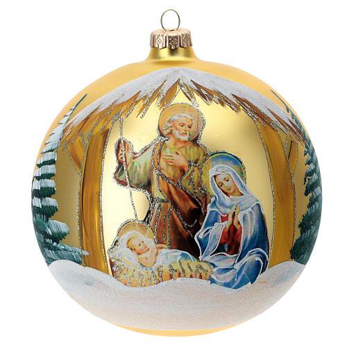 Pallina Natale oro Natività Sacra Famiglia vetro soffiato 150 mm 1