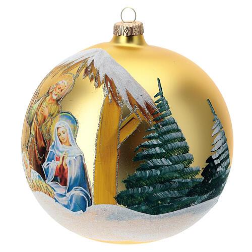 Pallina Natale oro Natività Sacra Famiglia vetro soffiato 150 mm 2