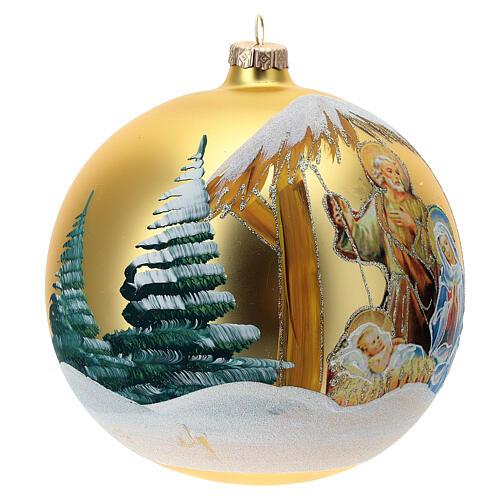 Pallina Natale oro Natività Sacra Famiglia vetro soffiato 150 mm 3