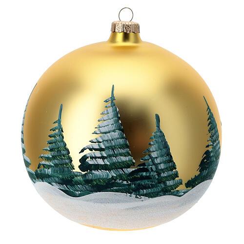 Pallina Natale oro Natività Sacra Famiglia vetro soffiato 150 mm 4
