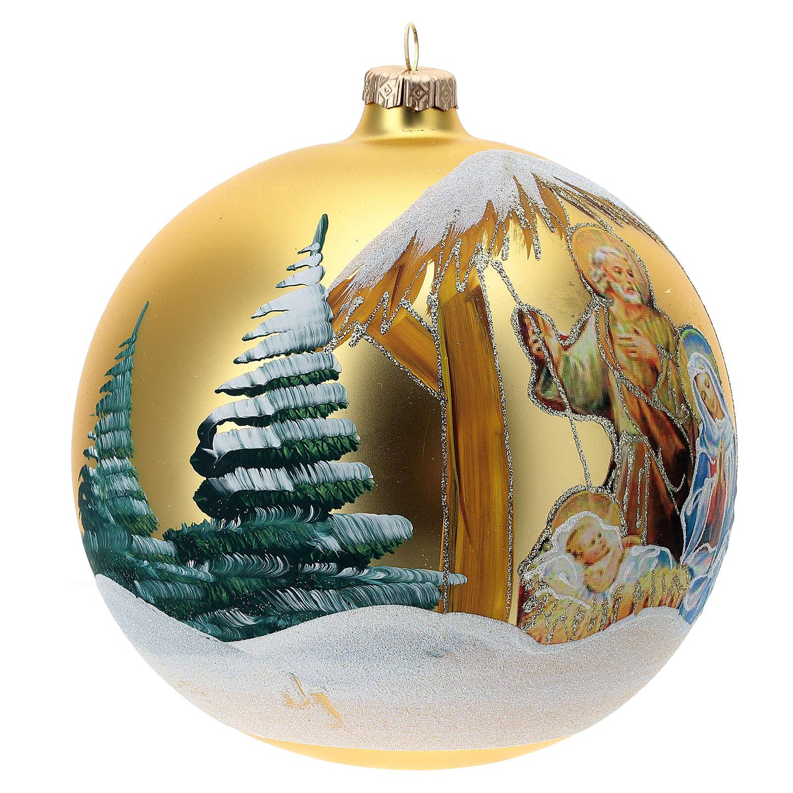 Bola árvore de Natal Sagrada Família vidro soprado dourado 150 mm 4
