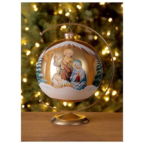 Bola árvore de Natal Sagrada Família vidro soprado dourado 150 mm 2