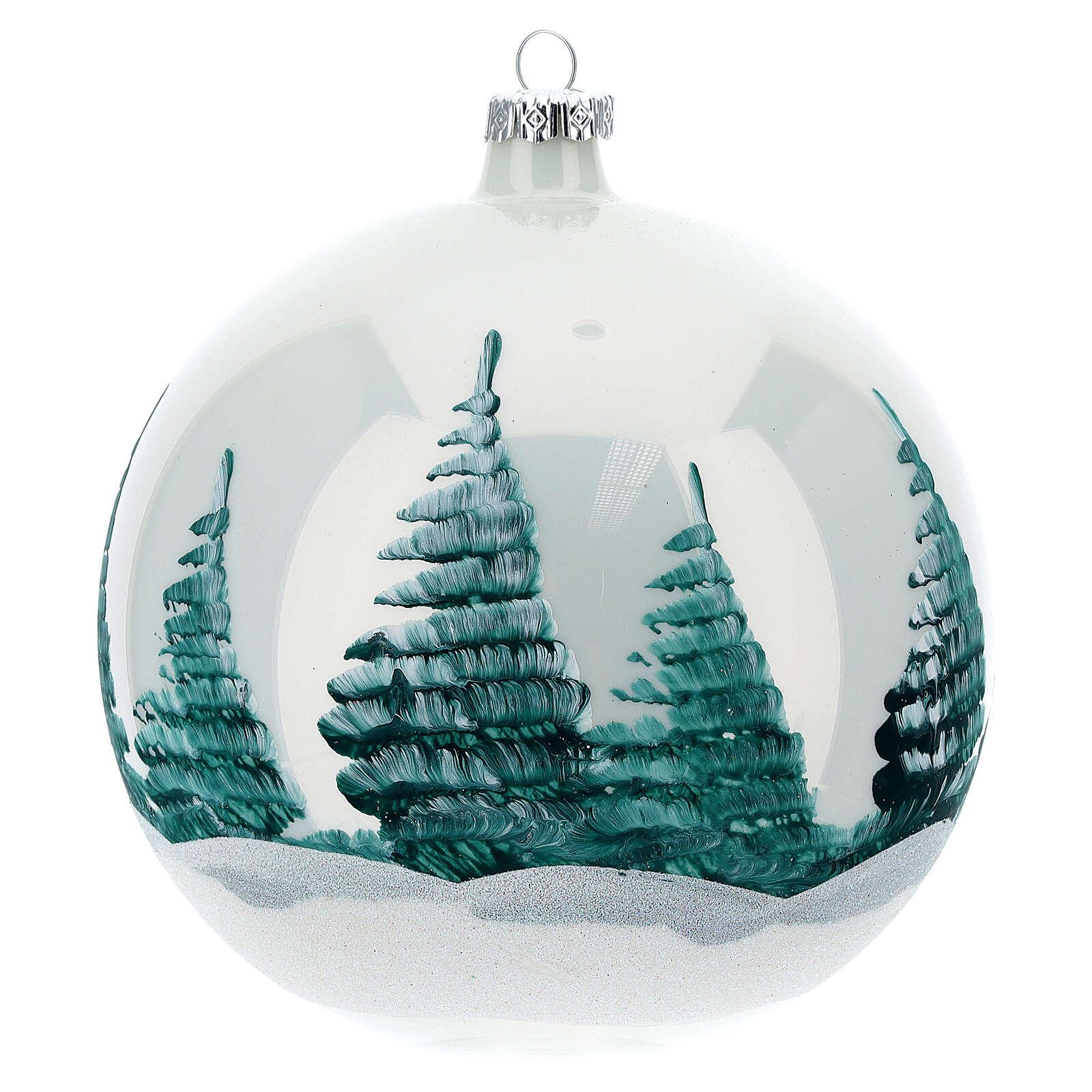 Boule Noël Nativité fond blanc verre soufflé 150 mm 4